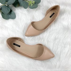 Forever 21 Nude Pointed Cutout-side Flats